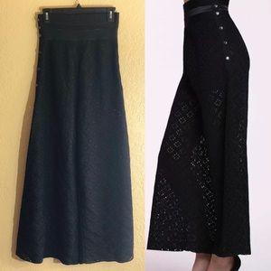 Vintage Chanel Black Silk Wide Leg Pants Size 36